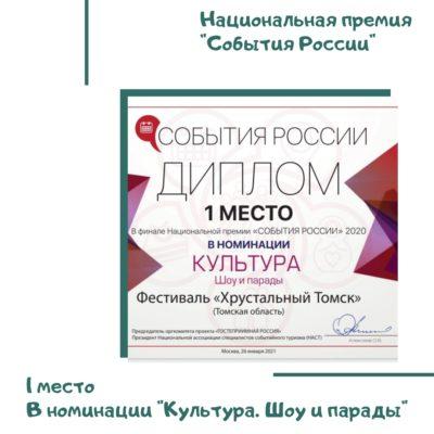 Фестиваль «Хрустальный Томск» победил в финале Национальной премии «События России» 2020